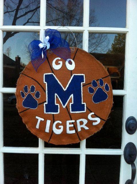 Memphis Basketball Burlap Door Hanger. $35.00, via Etsy.