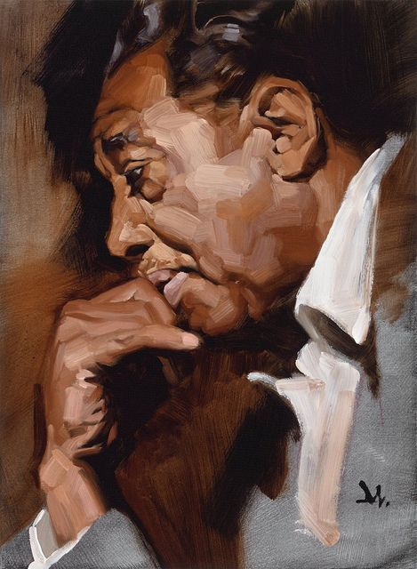 Artist: Gregory Manchess {figurative african-american black man profile portrait painting}