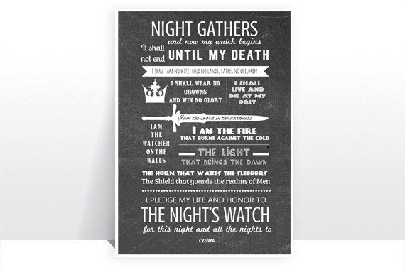 Game of Thrones - The Night's Watch Oath Version 1 - MANY SIZES -  Modern Retro Vintage GOT Jon Snow Typography Art Print