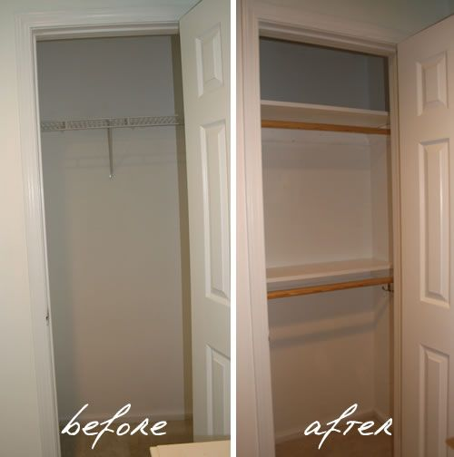 Create more closet space and entice buyers with an extra rod and a few shelves.