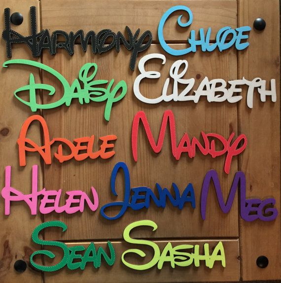 DISNEY LASER CUT PERSONALISED WOODEN NAMES ONLY 99P PER LETTER PAINTED FREE  EXAMPLE A name of JOHN would cost £3.96  Colours available :-