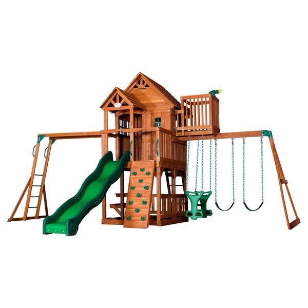 Backyard Discovery Playsets - Skyfort II Wooden Swing Set #features