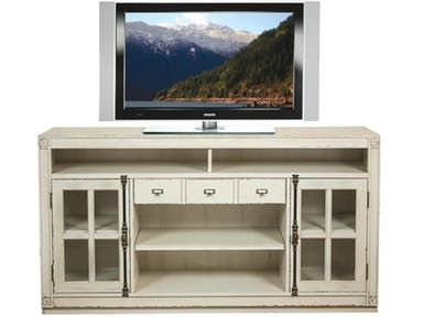 Entertainment Console: Constructed of Poplar solid and Birch veneer. Open electronic storage area below the top. Each outside framed-glass door encloses an adjustable shelf.