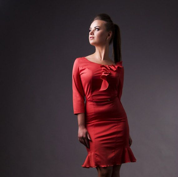 Red Coral Long Sleeve Fitted Dress by TAVROVSKA, Midi Pencil Dress