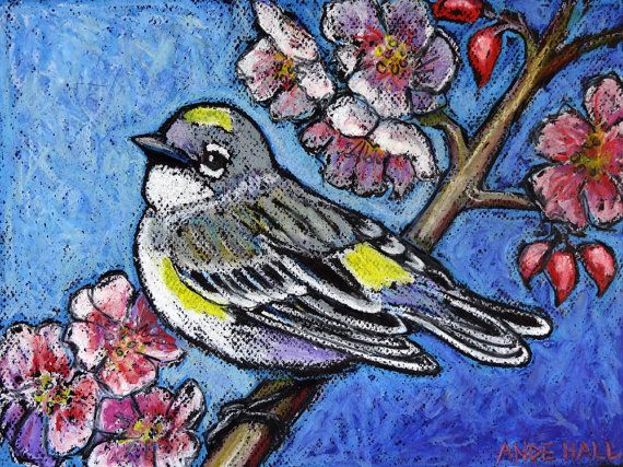 9x12 Original Bird Painting Oil Pastels Yellow by AndeHallFineArt