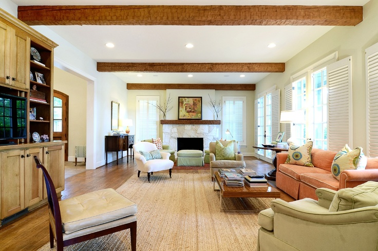 Love the wood beamed ceiling in this living room! (3700 McFarlin Boulevard, Highland Park, Dallas, Texas)
