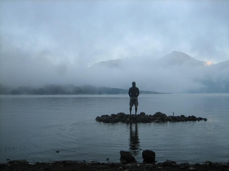 a mystical moment in Segara Anak lake, Mount Rinjani
