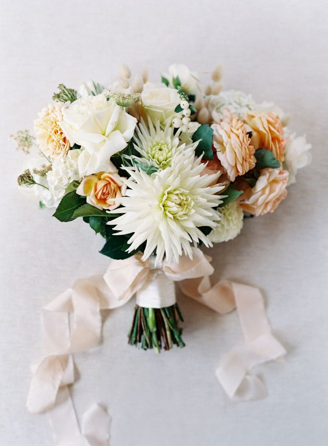 Ivory and Neutral Dahlia Bouquet | Jose Villa Photography - http://heyweddinglady.com/nearly-nude-rustic-glam-neutral-wedding-ideas/