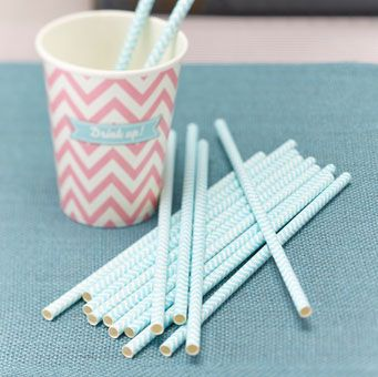 Pack of 25 Chevron powder mint green paper straws are great for a wedding or party.