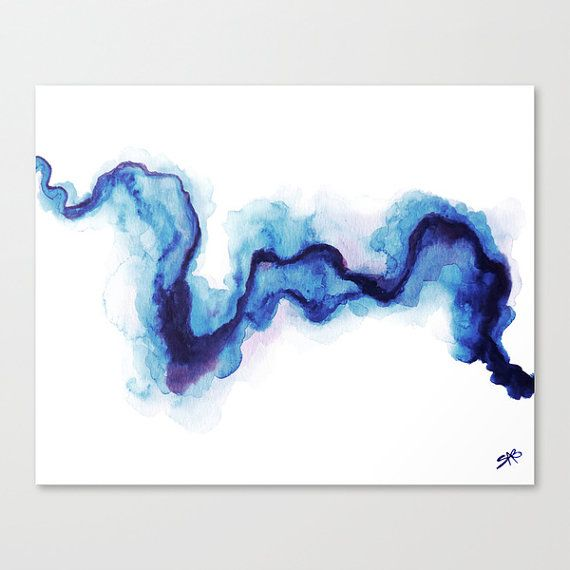 Abstract Art, Modern Art, Blue Watercolor, Blue Painting, High Quality, Art Print, Giclee Print This is high quality and gorgeous Giclee print from