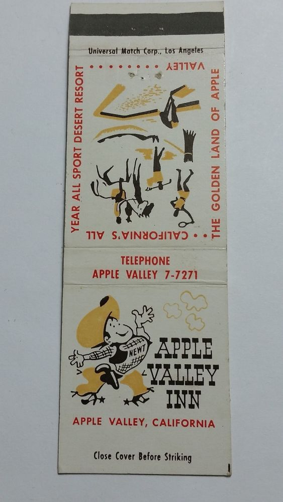 APPLE VALLEY INN APPLE VALLEY CALIFORNIA PHONE 7-7271 #Matchcover To order your Business' own branded #matchbooks or #matchboxes GoTo: www.GetMatches.com or Call 800.695.7331 TODAY!