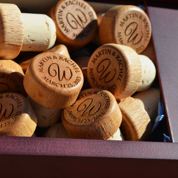 60 Wood Wine Stoppers - Engraved Custom Personalized Wedding Favor. Would totally do this someday for my imaginary winery wedding where I wear a romantic lace dress haha!
