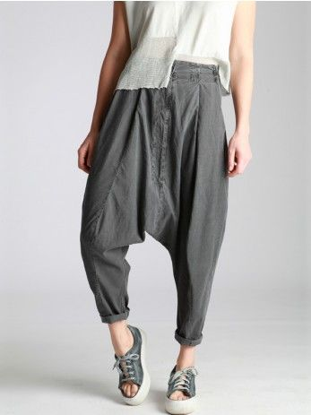 COTTON PLEATED LOW CROTCH TROUSERS - JACKETS, JUMPSUITS, DRESSES, TROUSERS, SKIRTS, JERSEY, KNITWEAR, ACCESORIES - Woman -