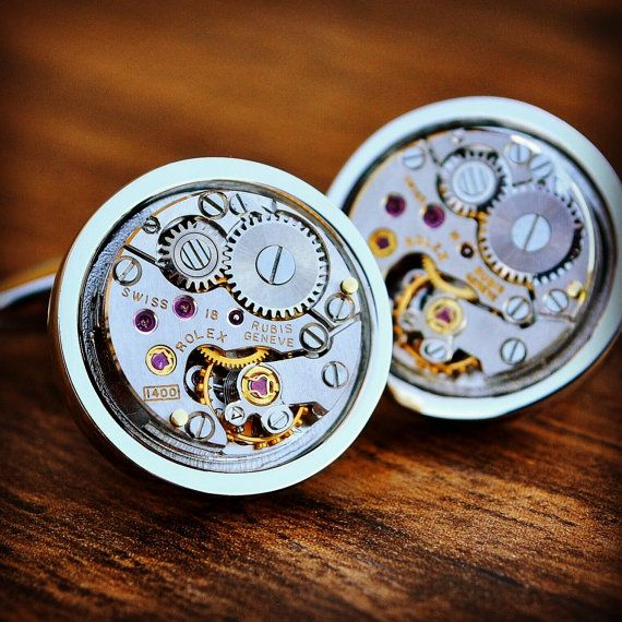 Rolex Watch Movement Cufflinks by JFoxCufflinks on Etsy  #cufflinks #suit #tie #shirt #horology #menswear #mensfashion #watchmovementcufflinks #mensaccessories #men #gentleman #dapper #sartorial #debonair #vintagecufflinks #steampunkcufflinks #steampunk #retail #groom #luxury #weddingday #groomgift #timepiece #groomsmengift #dadgift #handmade #fashion #birthdaygift #wristwatch #style #watch #bestmangift #etsy #etsyshop #Rolex