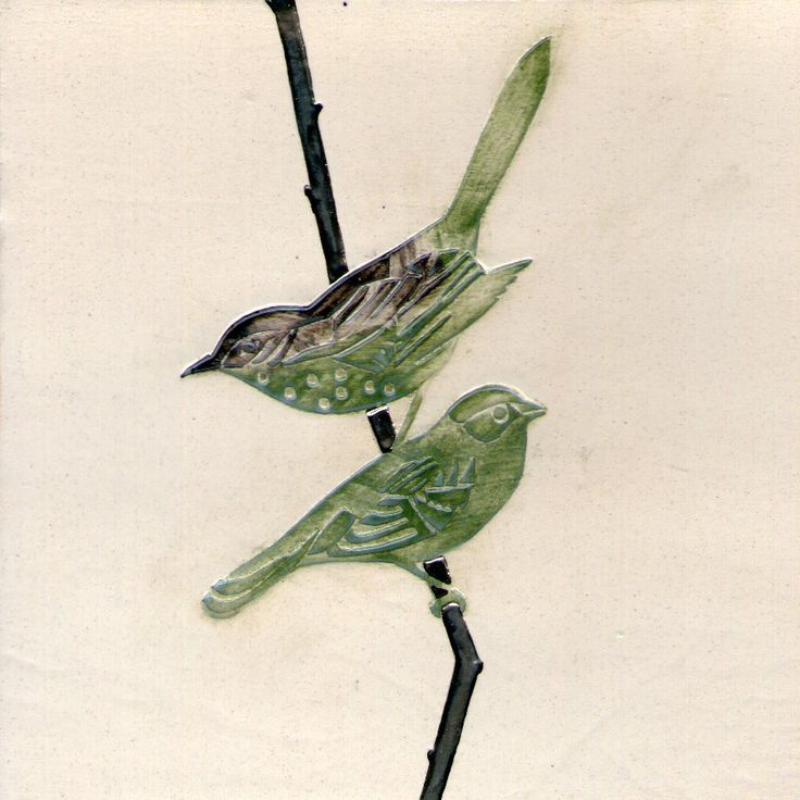 Finches on silver twig. 15 x 15cm Ceramic tile.