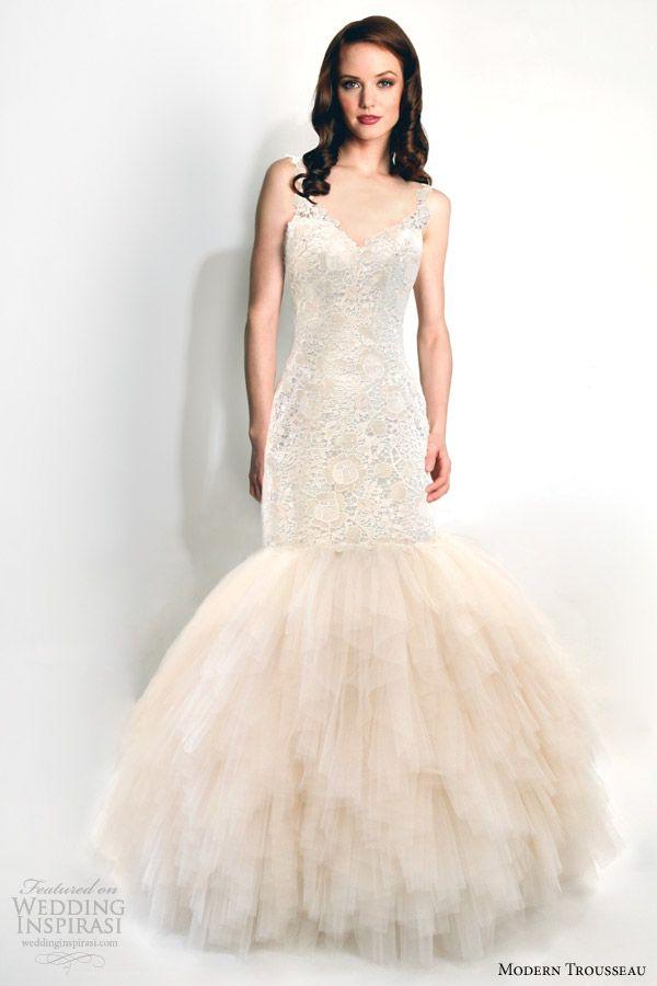 modern trousseau wedding dresses fall 2015 rain blush fit flare gown -- Modern Trousseau Fall 2015 Wedding Dresses