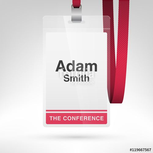 Vector: Conference badge with name tag placeholder. Blank badge template in plastic holder with lanyard. Vector illustration.