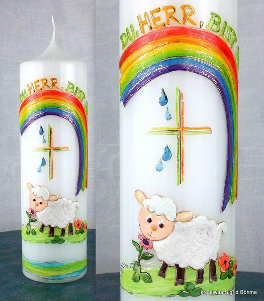 Taufkerze Schäfchen DW 402 von  Kerzenkunst -  Kreatiwita auf DaWanda.com