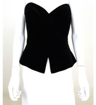 Vintage 1980s Arabella Pollen Size 14 Black Velvet Corset Top