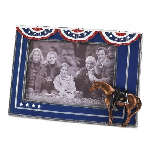 """Create a photographic tribute to a long-lost hero with this patriotic full color frame! This distinctive addition to the Painted Ponies collection lets you display your portrait with true American pride. Holds a 4"""" x 6"""" photo. Easel on back. Material(s):GLASS POLYRESIN STONE POWDER"""