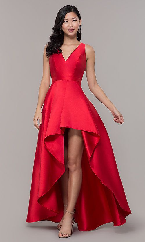 e5e3d2ad933b Long Satin High-Low V-Neck Prom Dress Closure Back Zipper, Hook and Eye  Details High-Low, Box-Pleated Skirt Fabric Self: 100% Polyester, Satin  Lining: 100% ...