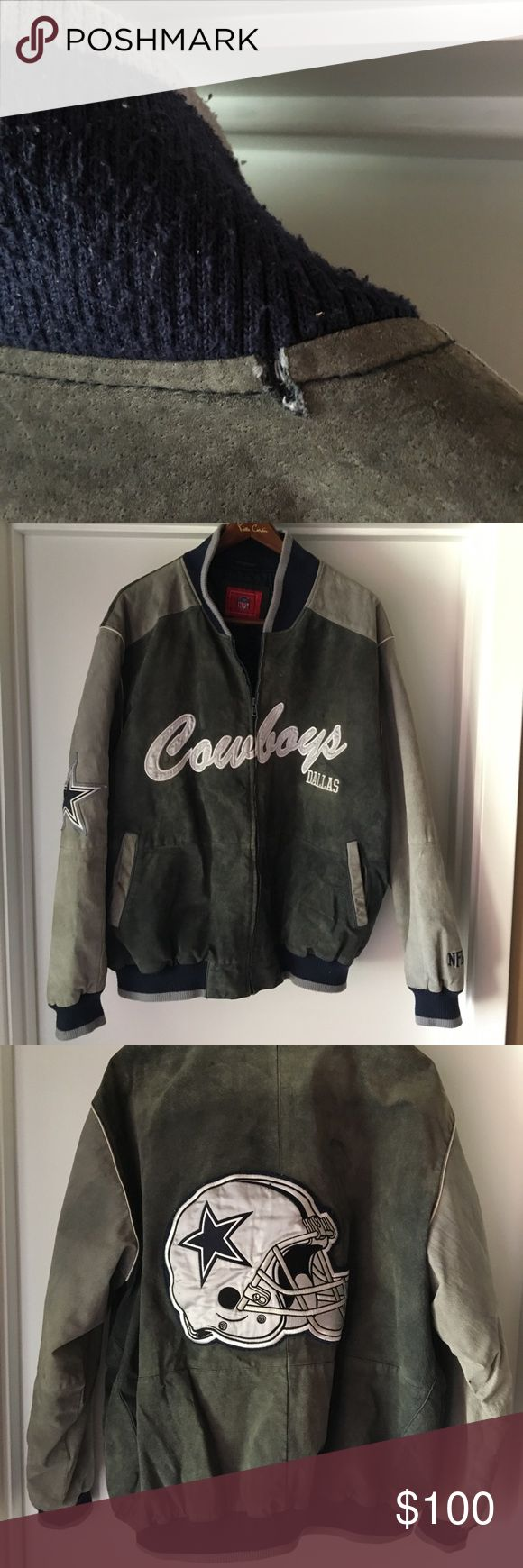 Dallas Cowboys Leather NFL Jacket Vintage heavy Leather jacket. It has been worn quite a bit, and has a slight tear on the back collar as shown in the picture and pilling around the entire collar. Size XL Mens. Make an offer!!! Jackets & Coats Bomber & Varsity