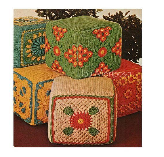 Crochet Pattern Vintage -70s Granny Pillow Covers Ottoman Hassocks Pattern Lot-Granny Cushion-Boho Bohemian Home Decor Vtg DIY