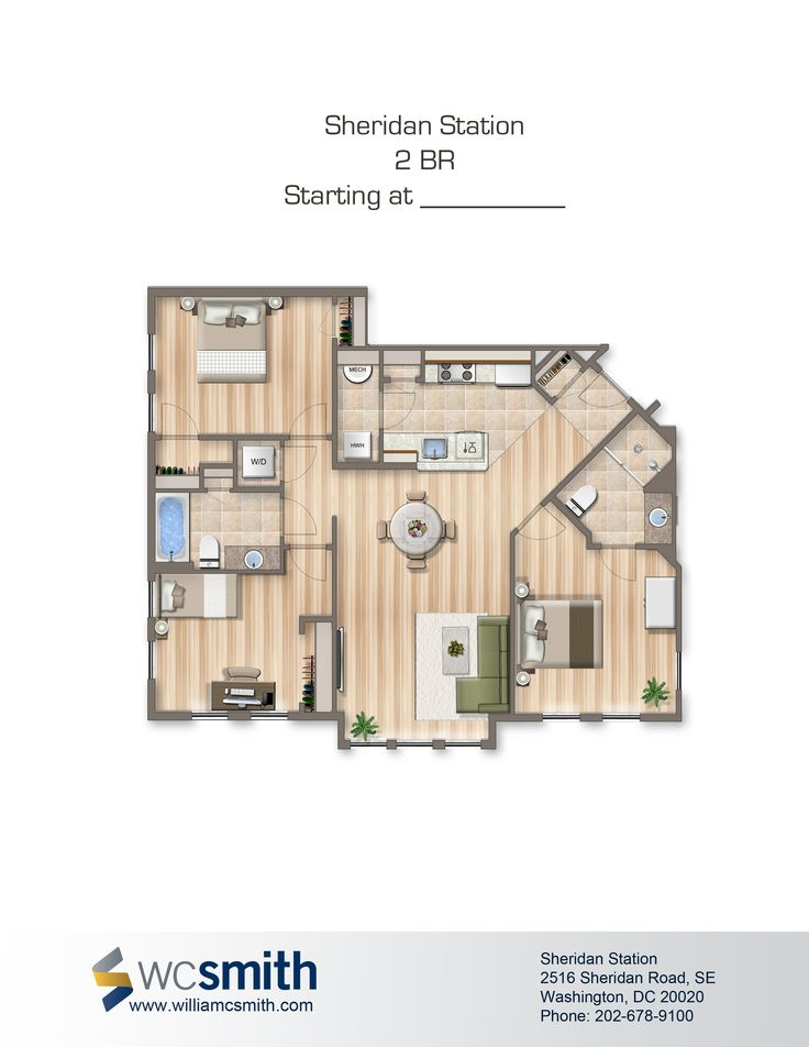 Two Bedroom Floor Plan Sheridan Station In Southeast Washington Dc Wc Smith Apartments