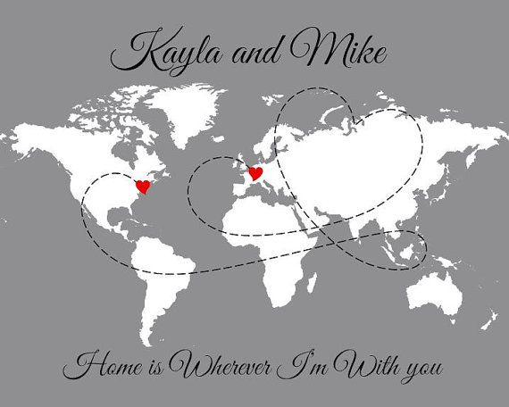 Personalized World Travel Love Story Map Large door PaperPlanePrints, $66.00