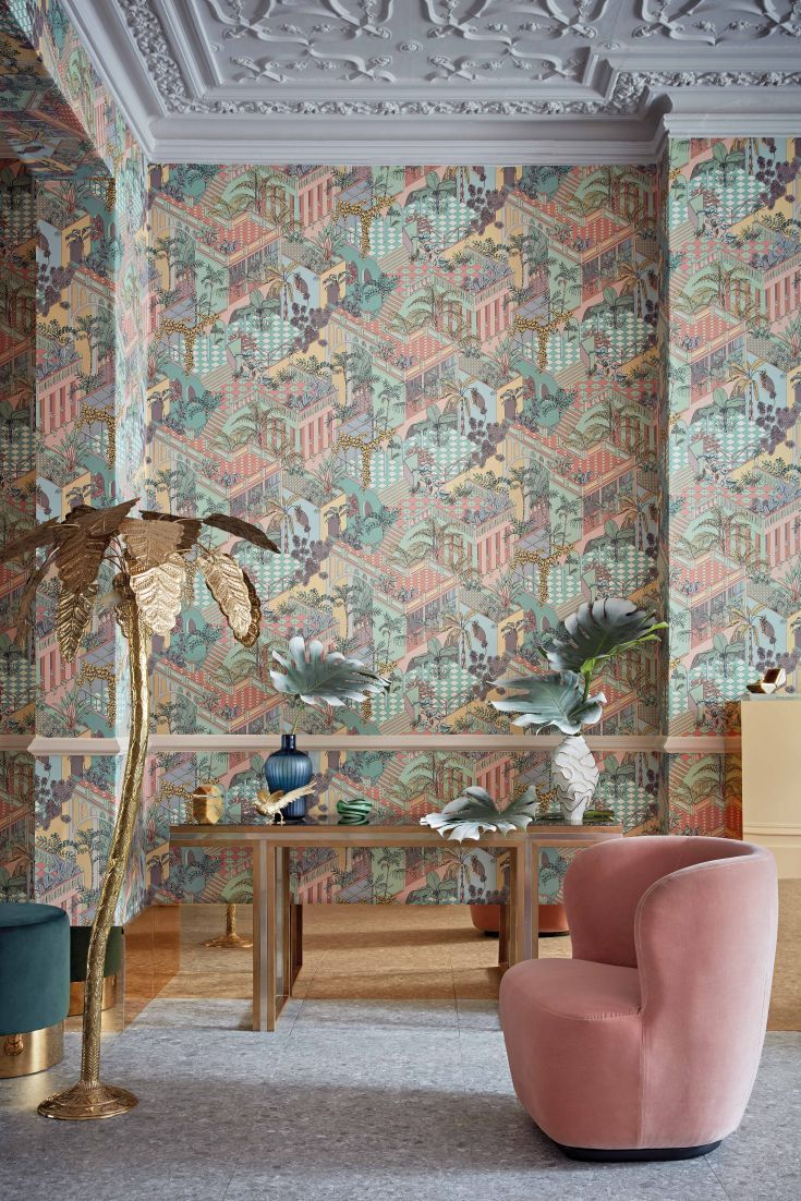 Cole & Sons Miami wallpaper design is now available in two new colour ways, including this amazing retro Pastel.