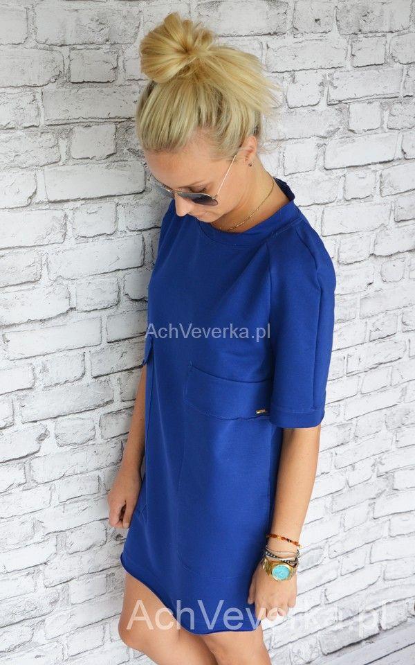 Dresowa sukienka z kieszeniami by Taffi. AchVeverka.pl #sukienka #kobaltowa #dresowasuienka #achveverka