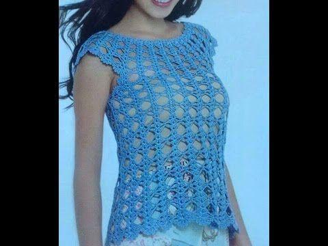 blusas tejidas en crochet caladas - YouTube