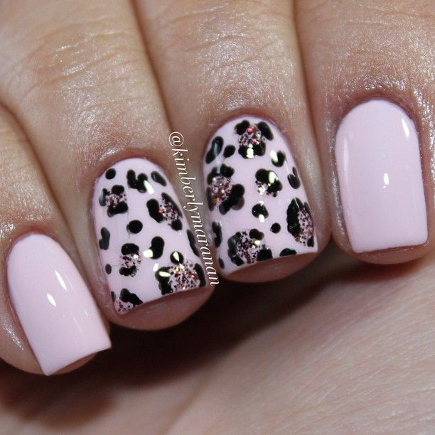 Pink leopard  Essie - Fiji, @trystlacquers - The One That Got Away, and a black striper.