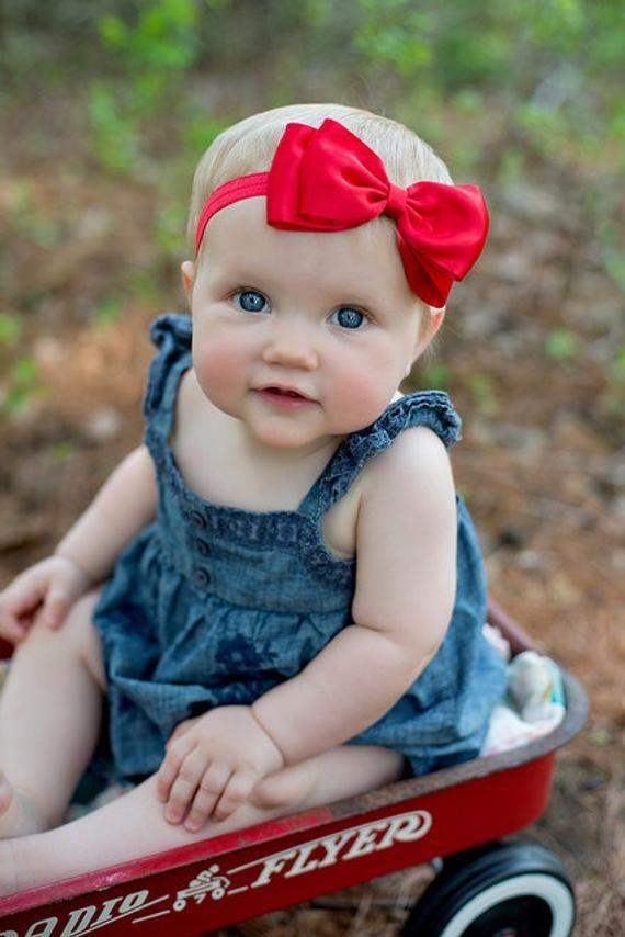 Faixa de cabeça vermelha. Headband de laço de cetim vermelho grande. Headband do bebê. Acessórios de cabelo do bebê. Girls H   – Products