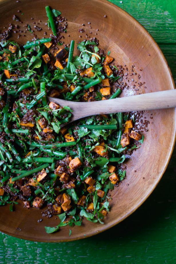 roasted sweet potato, quinoa, & watercress warm winter salad