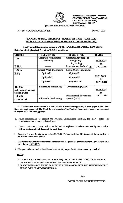OU: B.A /B.COM/ B.SC/ BBA (CBCS) Semester – I & III (Regular) Practical Examination Schedule – November 2017 - http://www.thesis123.com/notifications/ou-b-b-com-b-sc-bba-cbcs-semester-iii-regular-practical-examination-schedule-november-2017/