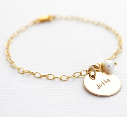 Gold filled moeder armband met naam