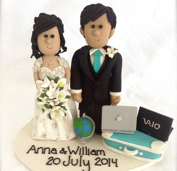 Gamer Cake topper- Geek wedding cake topper-  Techie /IT wedding couple- Computer Geeks Personalized Wedding Cake Topper, Geek Cake Topper