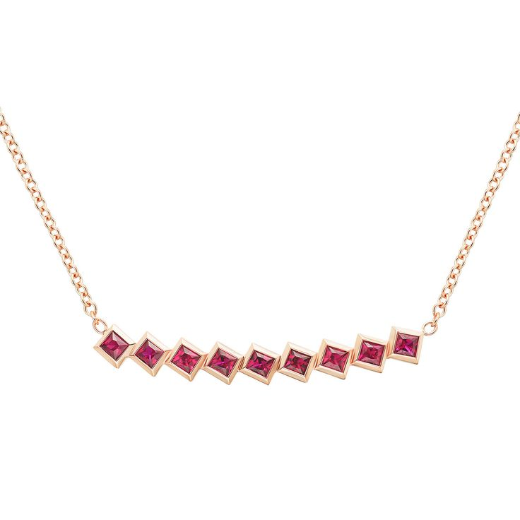 #MelissaKayeJewelry Large Margo #necklace in #18k pink #gold with #rubies…