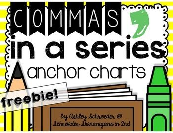 This freebie anchor chart set, one colored, one more ink friendly, and one black and white,  will be a great visual for your students to remember to use commas when separating and listing words in a series. DOWNLOADED