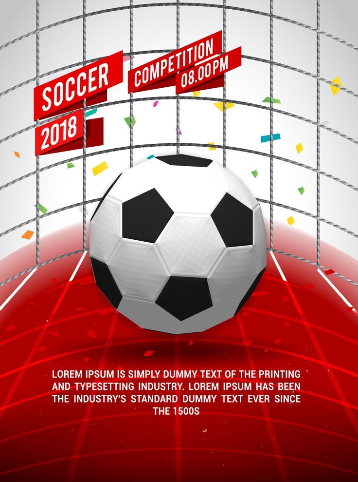 Soccer Ball Flyer Design Tournament Football Template Cup Winner Match Championship League Sport Game Day Quotes Soccer Sport Poster