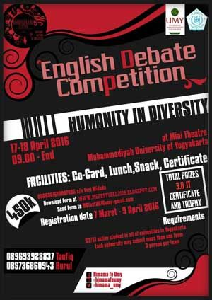 #EDC #EnglishDebateCompetition #UMY #Yogyakarta EDC English Debate Competition 2016 Universitas Muhammadiyah Yogyakarta  DEADLINE: April 9th, 2016  http://infosayembara.com/info-lomba.php?judul=edc-english-debate-competition-2016-universitas-muhammadiyah-yogyakarta