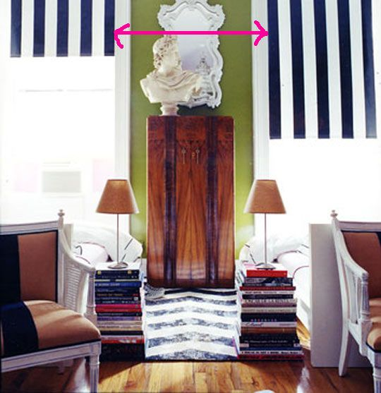 Painted Stripe on Roller Shade Blinds by Nick Olsen. Start with a good quality shade.