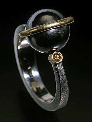 oxidized silver ball with yellow diamonds - Google Search