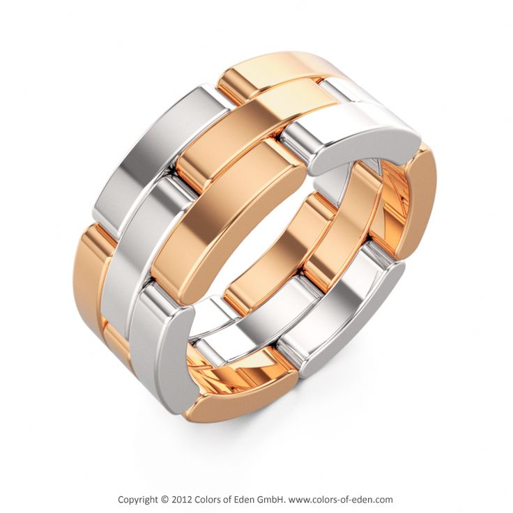 Silver and Rose Gold Ring Wedding ALLIANCES