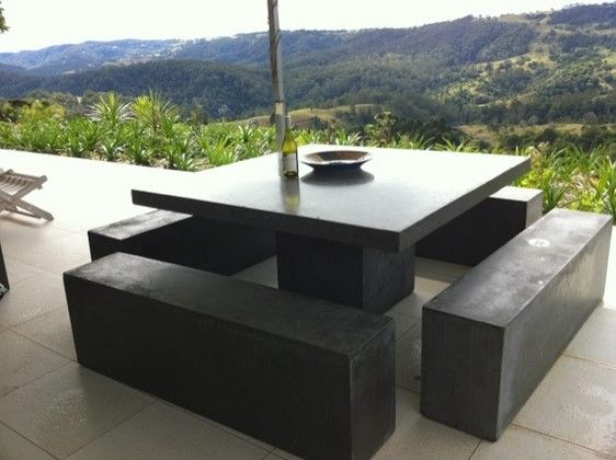 Outdoor Dining Table & Bench Seat - Square - Dining Tables