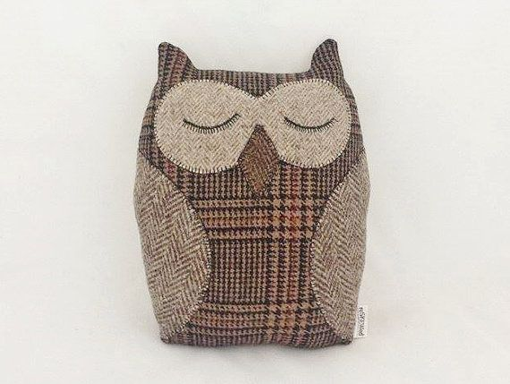 "Stuffed Owl ""Oliver the Owl"" Pillow made from Upcycled Recycled Repurposed Men's Wool Suits ~ Night Owl Home Decor ~ Plush"