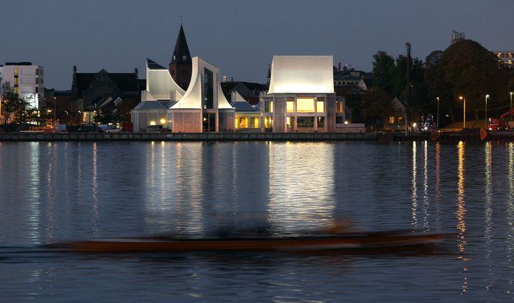 Utzon Center, Aalborg, Limfjorden by Jorn Utzon born in Aalborg Denmark