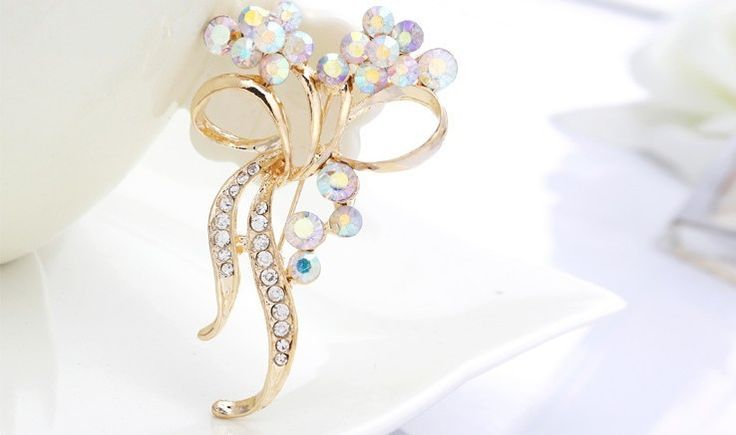 Gold Rhinestone Flower Brooches/hijab pin/lote of 2min order 24.99