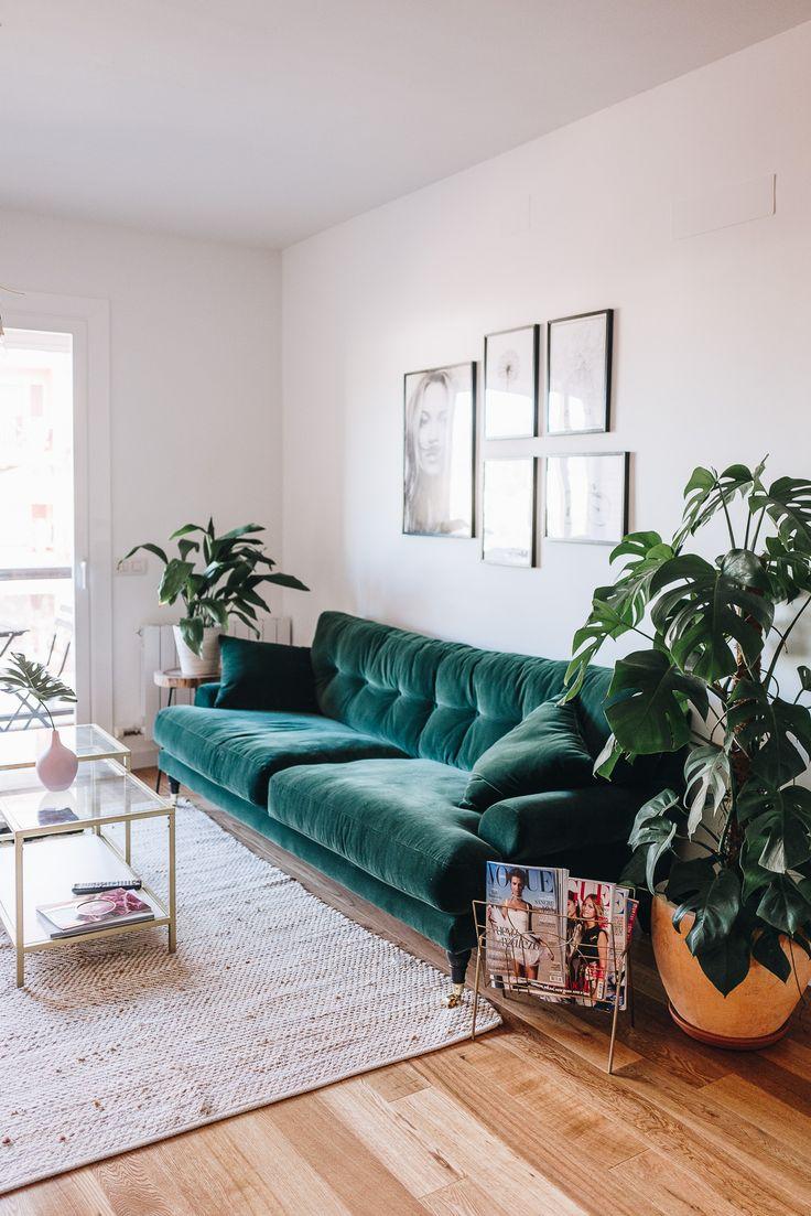 Green velvet sofa & plants